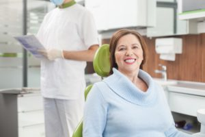Woman undergoing transition from dentures in Vienna, VA.